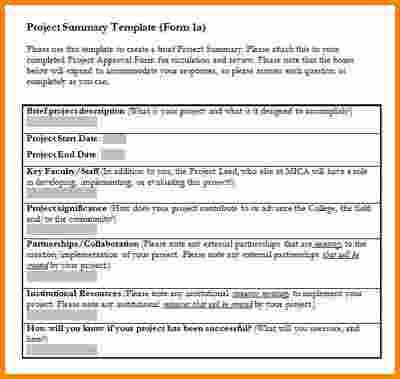 Project Summary Template Word [Template.billybullock.us ]