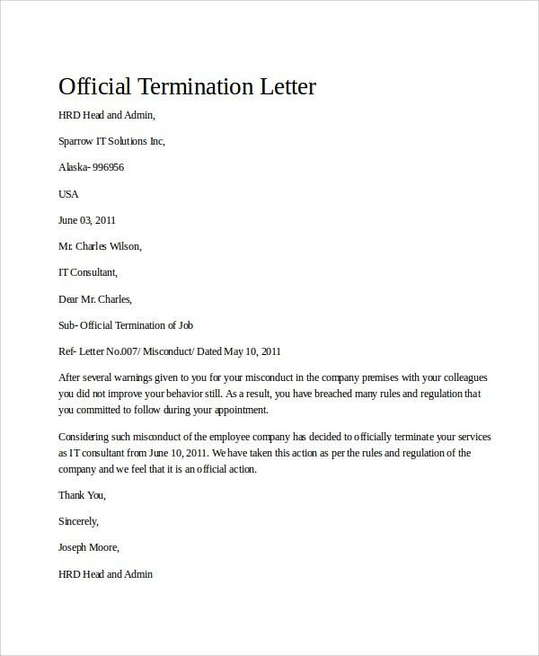 Sample Termination Letter - 9+ Examples in Word, PDF