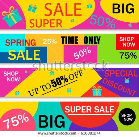 Collection Horizontal Holiday Sale Banner Template Stock Vector ...