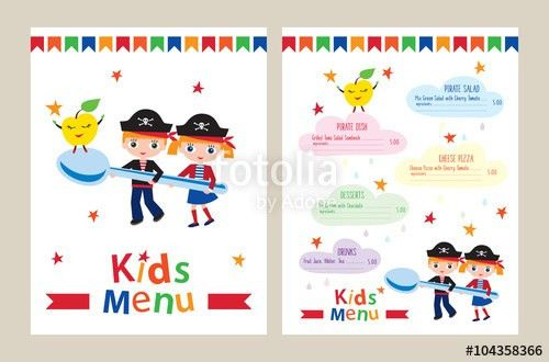 Kids menu vector template. Kids menu for a pirate birthday party ...