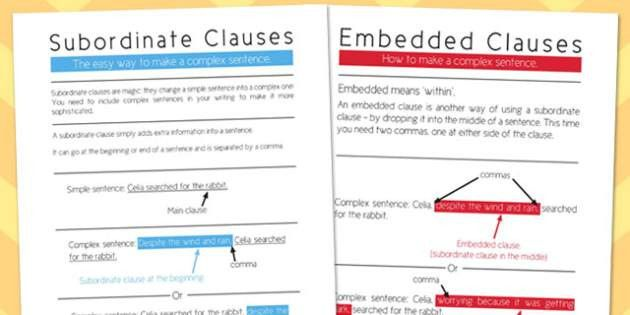 Embedded and subordinate clauses poster - display, poster