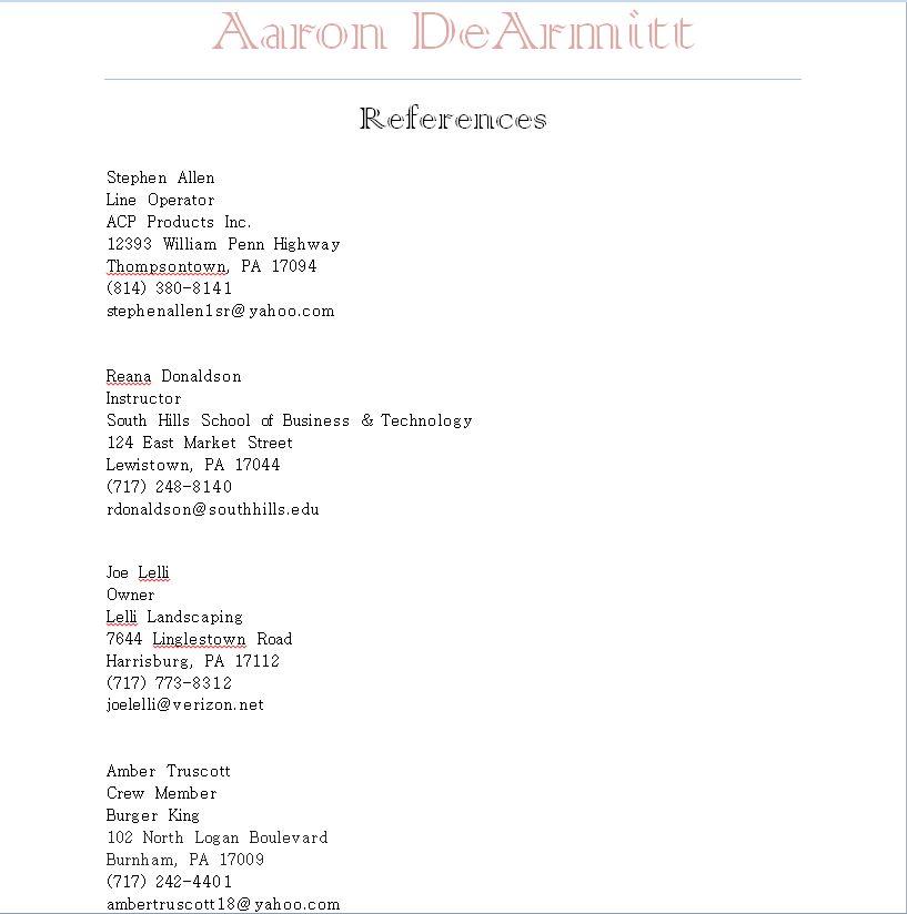 Resume, Cover Letter, and References | Web Developer, Designer ...