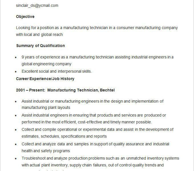 Wonderful Looking Manufacturing Resume 6 Manufacturing Resume ...