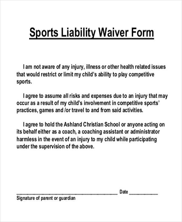 Liability Waiver Forms. Sample Release Of Liability Form Template ...