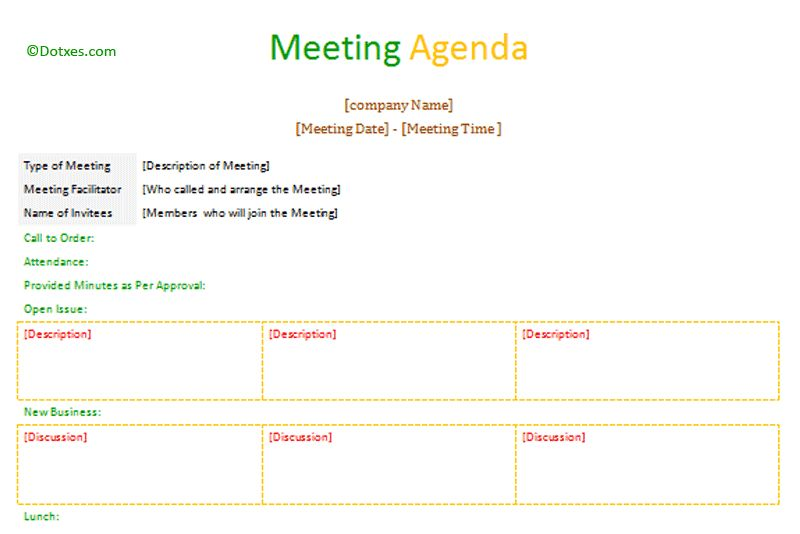 Formal meeting agenda template (Table format) - Dotxes