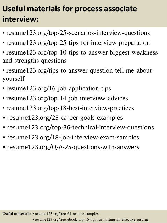 Top 8 process associate resume samples