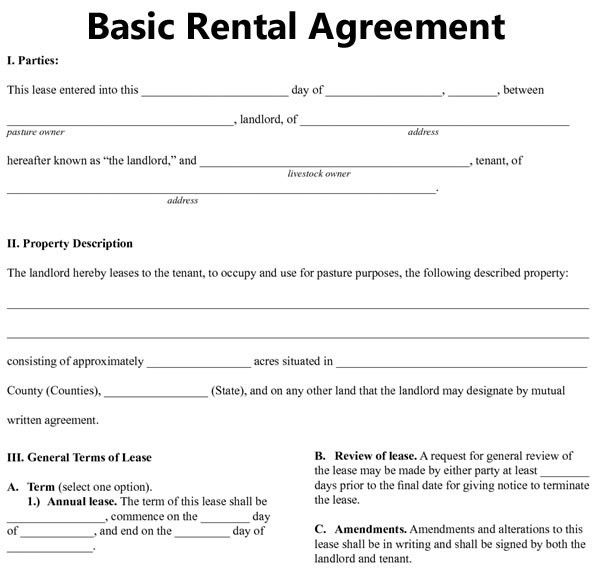 Basic Rental Agreement Fillable : 39 Excellent Rental Lease and ...