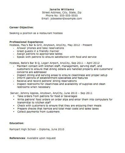 hostess resume objective hostess host resume janella williams ...