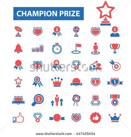 Champion Prize Icons Awards Trophy Certificate Stock Vector ...