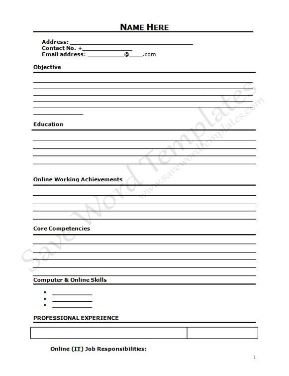 Printable Resume Form, resume templates free. free blanks resumes ...