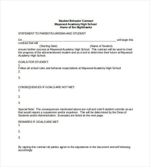 Student Behavior Contract Template Word Format , 23+ Simple ...