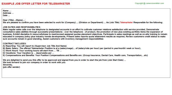 Telemarketer Offer Letter