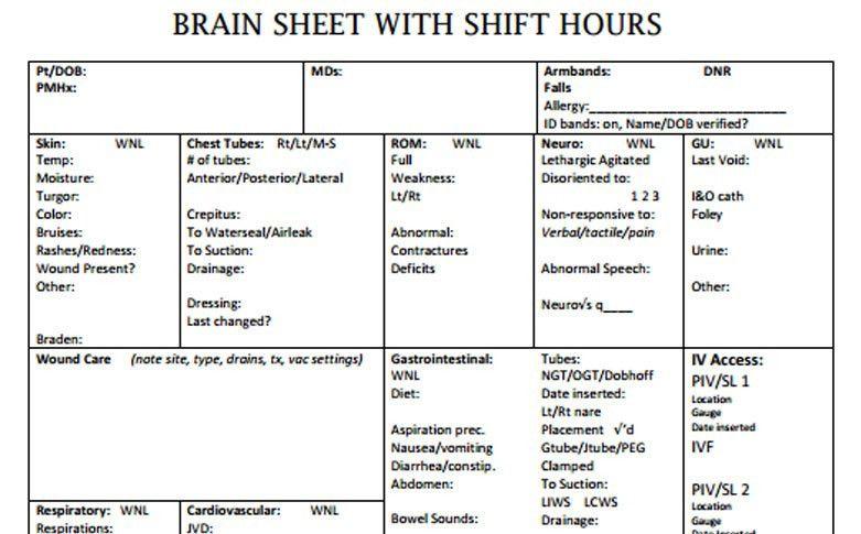 Nurse Brain Sheets - Shift Hours | Scrubs - The Leading Lifestyle ...