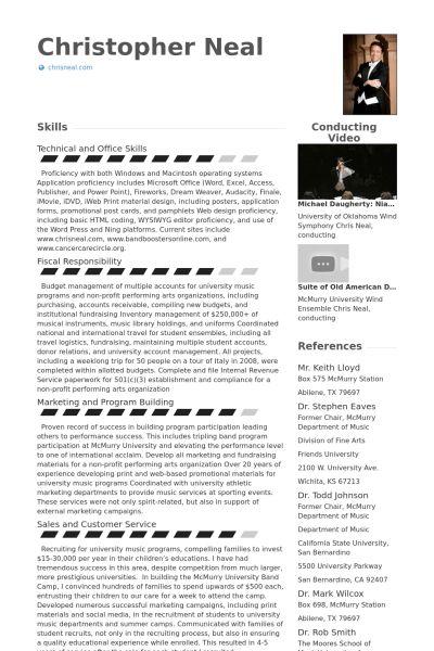 Artist Resume samples - VisualCV resume samples database