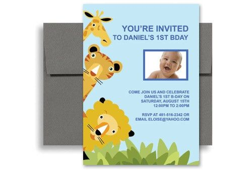 Animal Zoo Party 1st Birthday Invitation Samples 5x7 in. Vertical ...