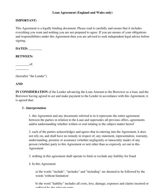 Loan Agreement - Template, Online Sample - Word and PDF