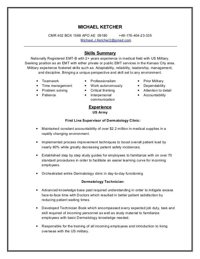 Emt Basic Resume - Template Examples