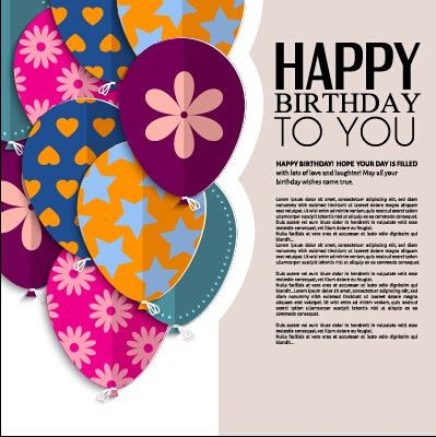 Template birthday greeting card vector material 03 – Over millions ...