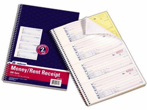 Adams SC1182 Money and Rent Receipt Book Spiral 200 Sets | eBay
