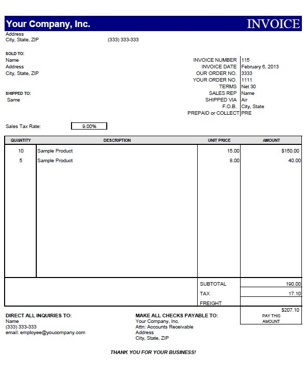 Ms Word Invoice Template Free Download | Free Invoice Template