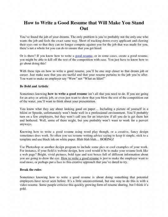 Cosy How To Do A Good Resume 13 Template How To Write A Resume Do ...