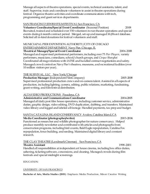 PRODUCTION AND EVENTS COORDINATOR RESUME