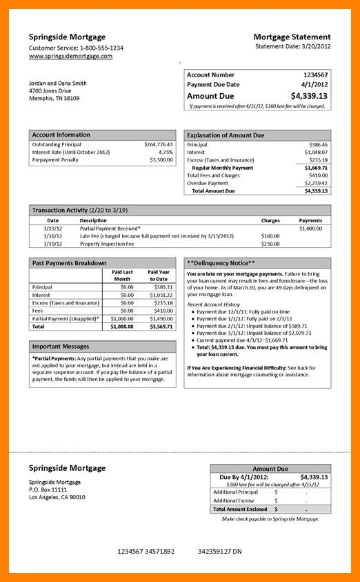 11+ mortgage statement example | hostess resume