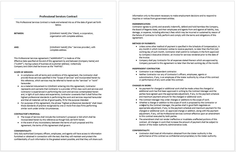 Professional Services Agreement Template | Microsoft Word Templates