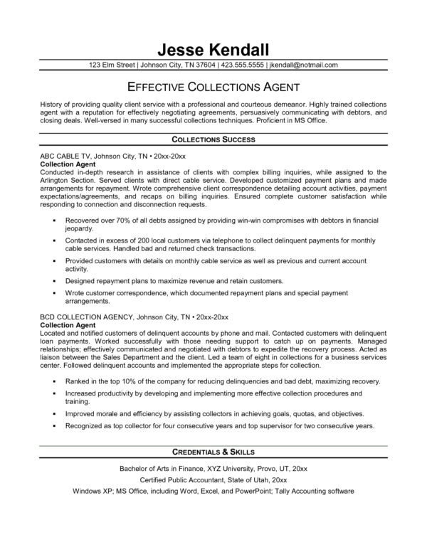 Impressive Collection Agent or Debt Collector Resume Template ...