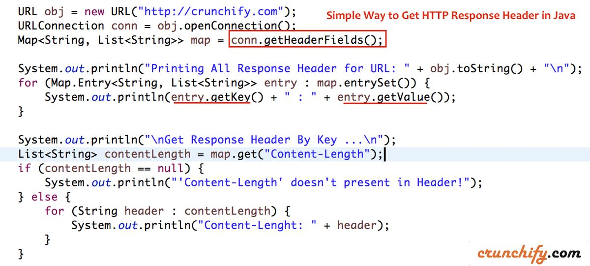 Simple Way to Get HTTP Response Header in Java • Crunchify