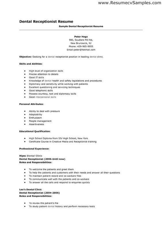 Spa Receptionist Resume Objective Examples We are here to save ...
