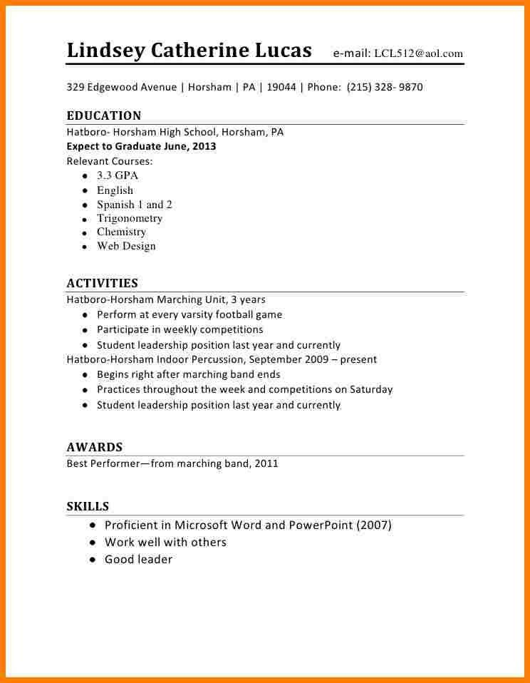 Resume Layout For First Job Objective With No Experience 19 ...