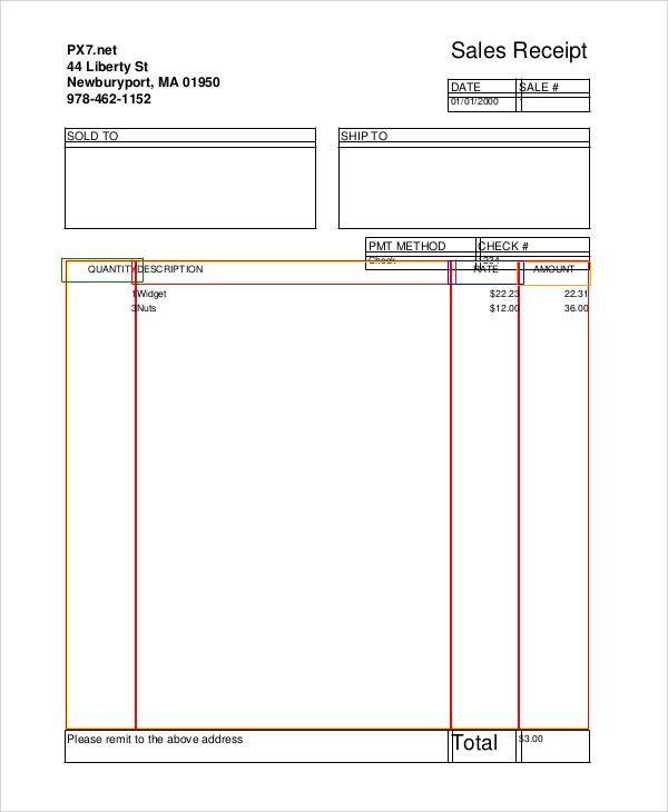 Sample Sales Receipt - 6+ Documents in PDF, WORD