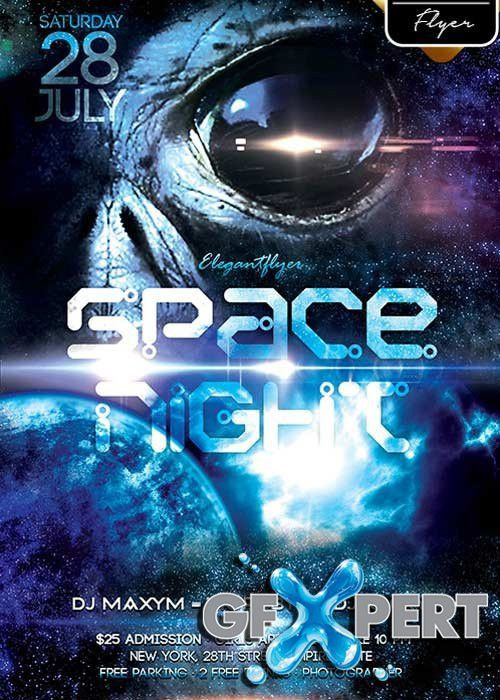 Free Space Night V1 Flyer PSD Template + Facebook Cover download