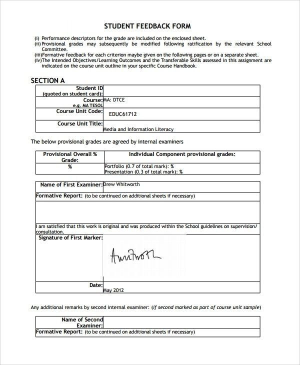 Student Feedback Form Template. student surveys using student ...
