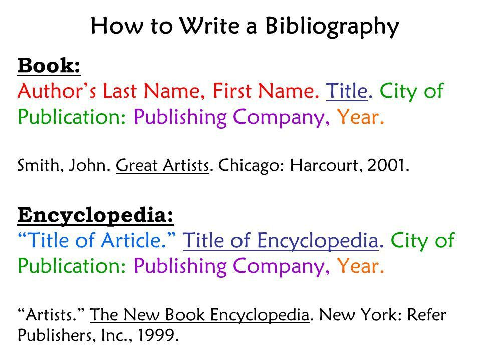 How to Write a Bibliography Book: Author's Last Name, First Name ...