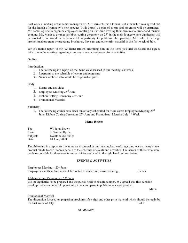 Sample memo report