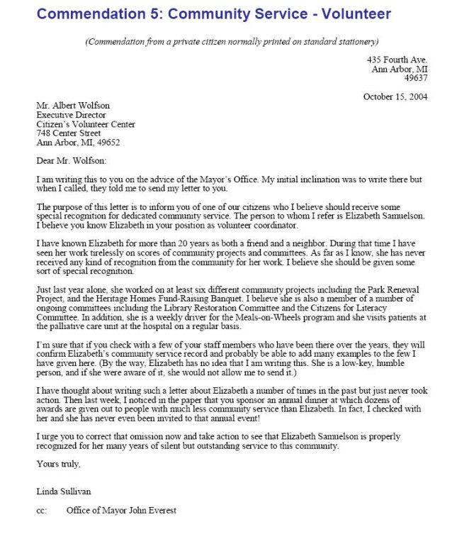 Sample Letter of Recommendation: Commendation Letter - Employee