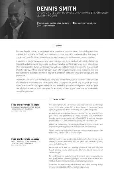 Food And Beverage Manager Resume samples - VisualCV resume samples ...