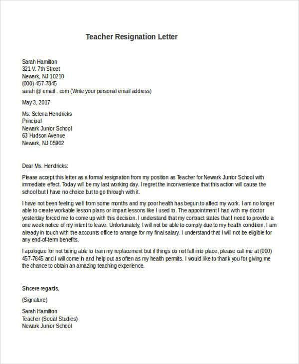 31 Formal Resignation Letters