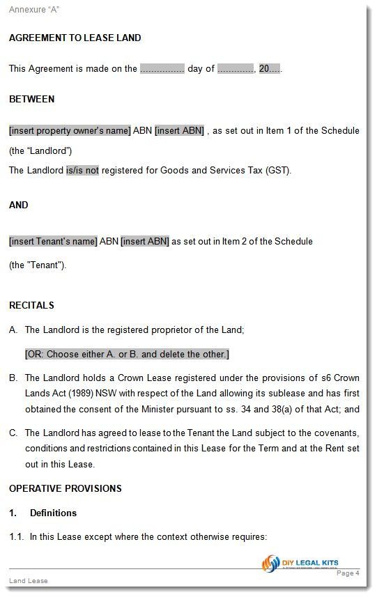 Land Lease Agreement Australian states