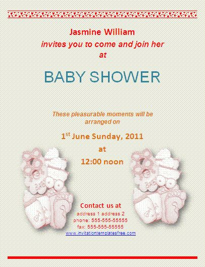 Baby Shower Invitation Templates For Word - Baby Shower DIY