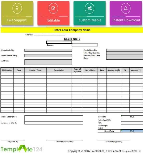 8+ Debit Note Format In Excel {Review} | Template124 Gallery
