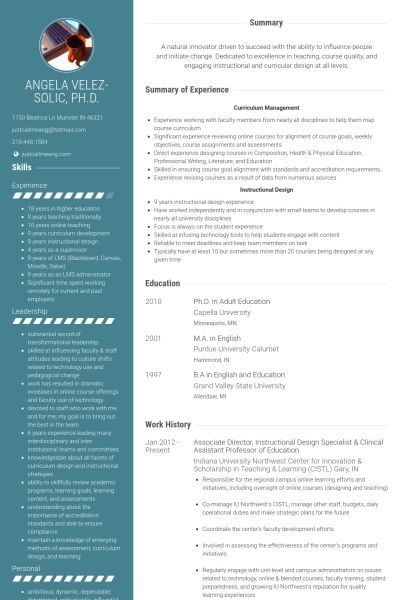Associate Director Resume samples - VisualCV resume samples database