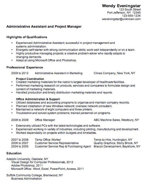 resume format for administration office administrator resume ...