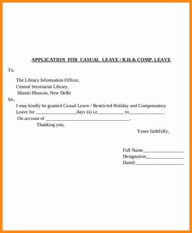 8+ leave application letter format | musicre sumed