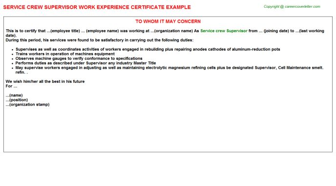 Service Crew Supervisor Work Experience Certificate