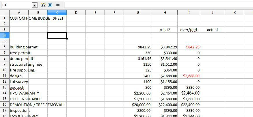 Cost Breakdown Sheet