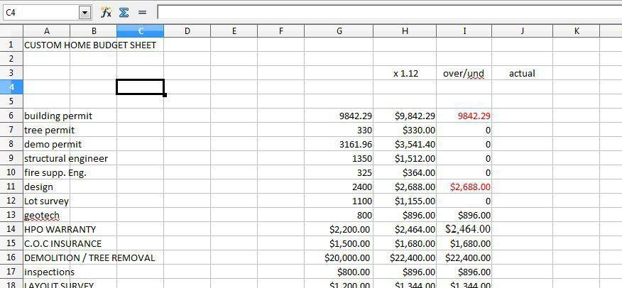Cost Breakdown Sheet