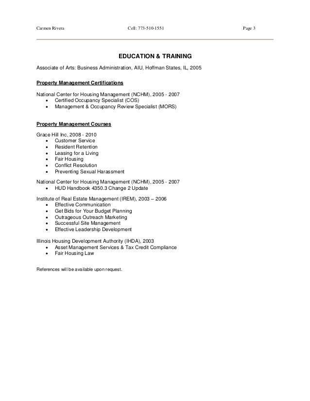 Property Manager Resume - Carmen Rivera - 2015